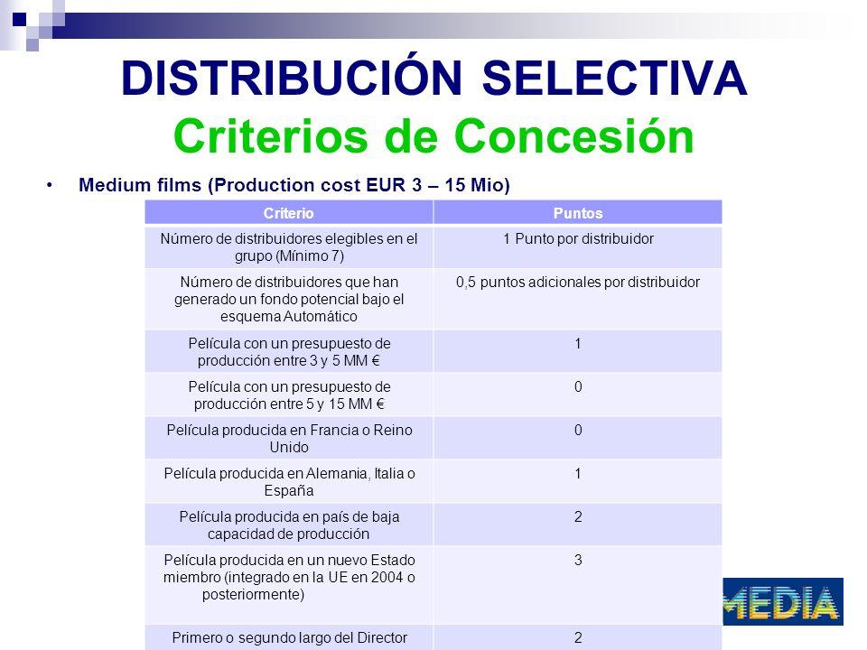 DISTRIBUCIÓN SELECTIVA Criterios de Concesión