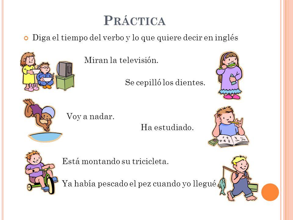 Práctica Diga el tiempo del verbo y lo que quiere decir en inglés