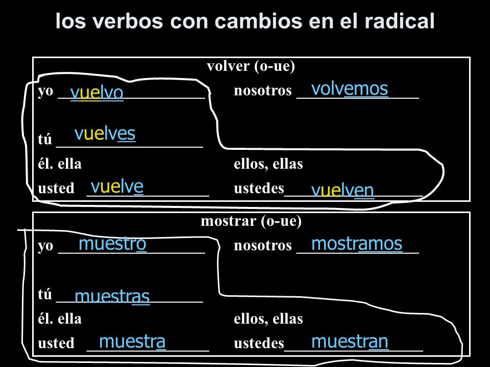 los verbos con cambios en el radical