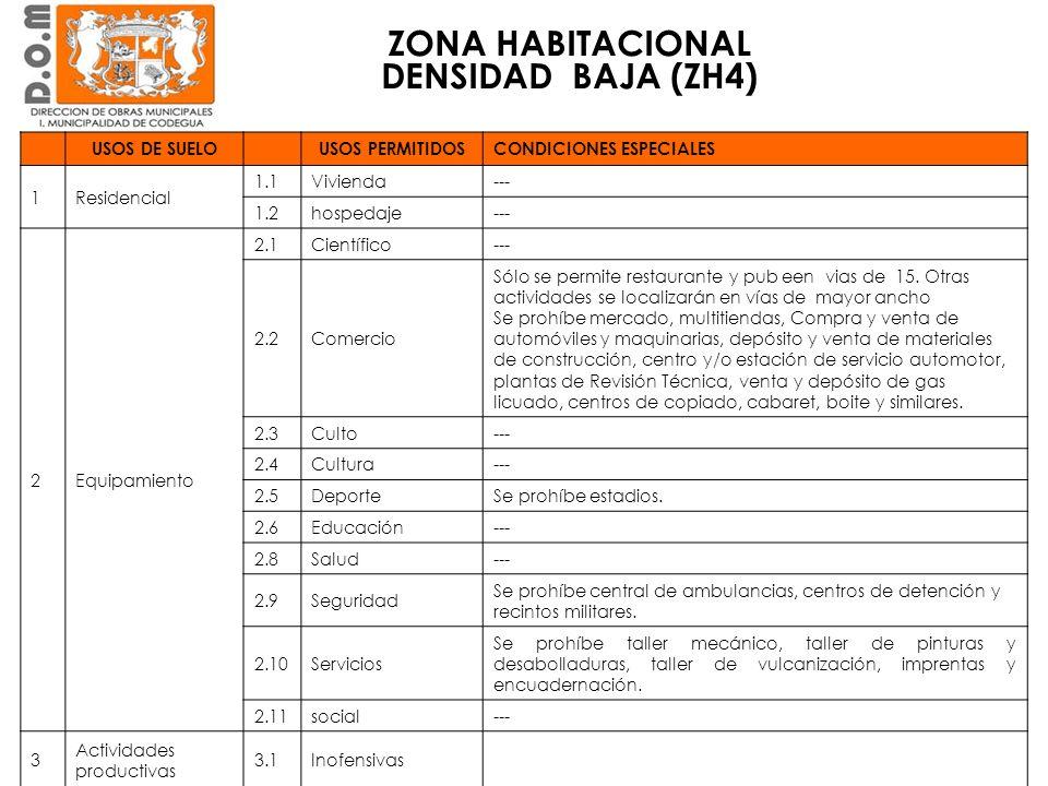ZONA HABITACIONAL DENSIDAD BAJA (ZH4)