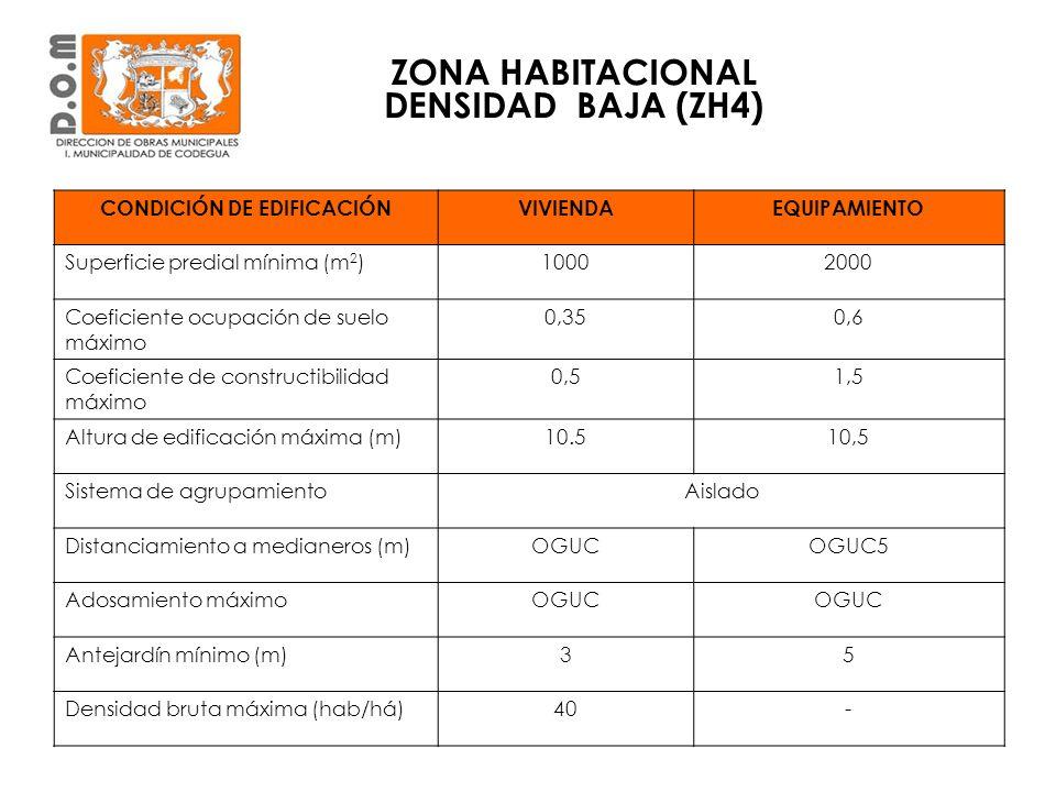 ZONA HABITACIONAL DENSIDAD BAJA (ZH4) CONDICIÓN DE EDIFICACIÓN