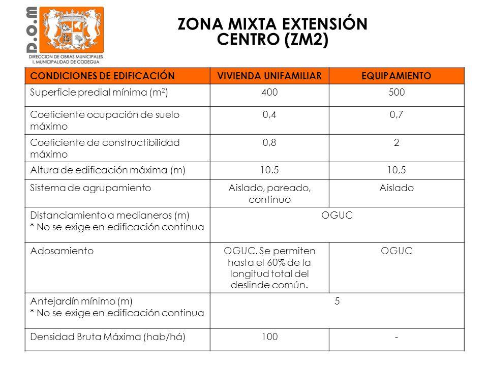 ZONA MIXTA EXTENSIÓN CENTRO (ZM2)