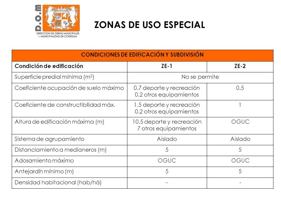 CONDICIONES DE EDIFICACIÓN Y SUBDIVISIÓN