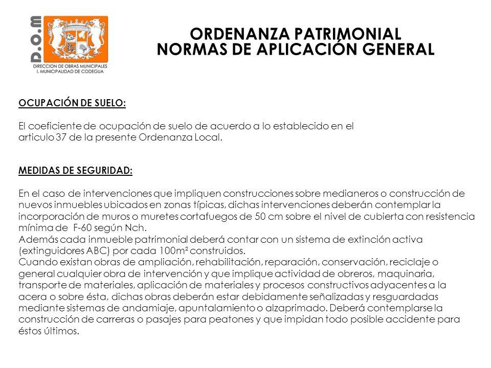 ORDENANZA PATRIMONIAL NORMAS DE APLICACIÓN GENERAL