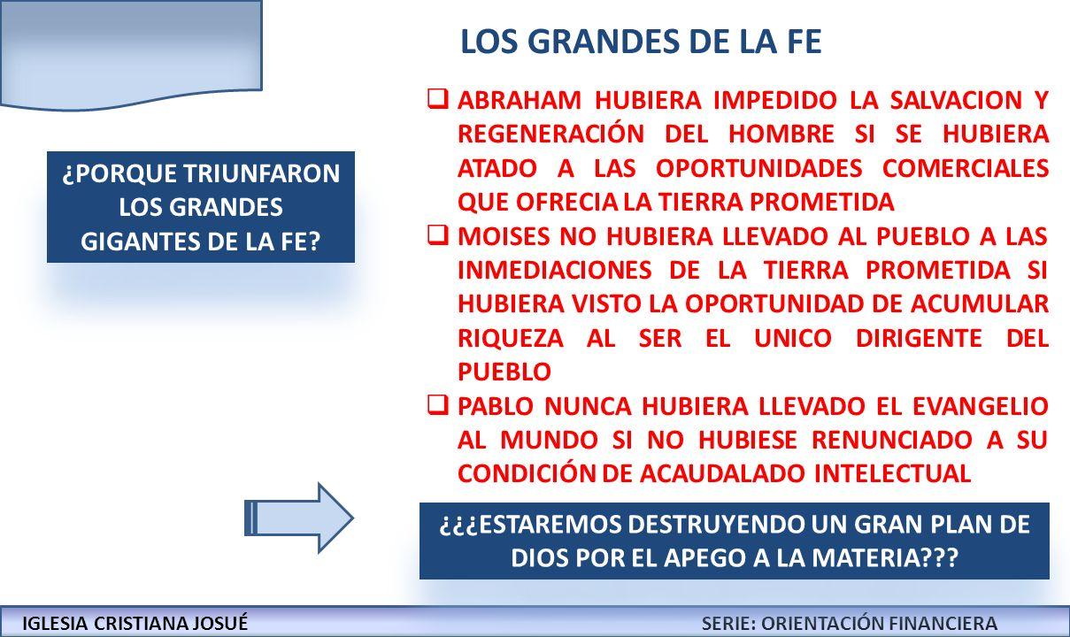 ¿PORQUE TRIUNFARON LOS GRANDES GIGANTES DE LA FE