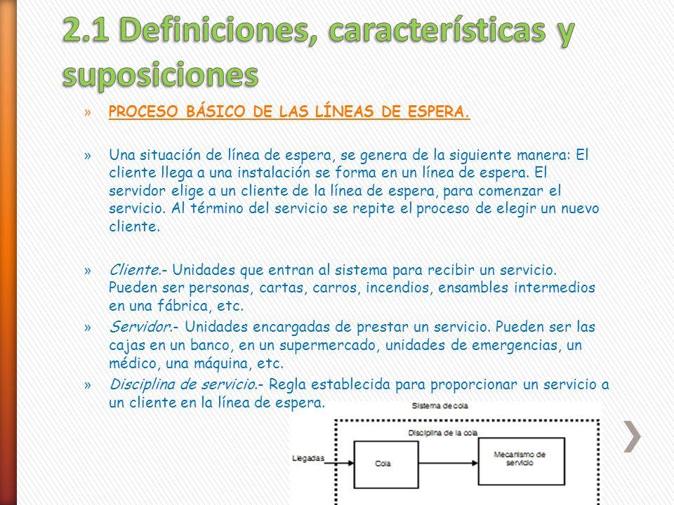 2.1 Definiciones, características y suposiciones