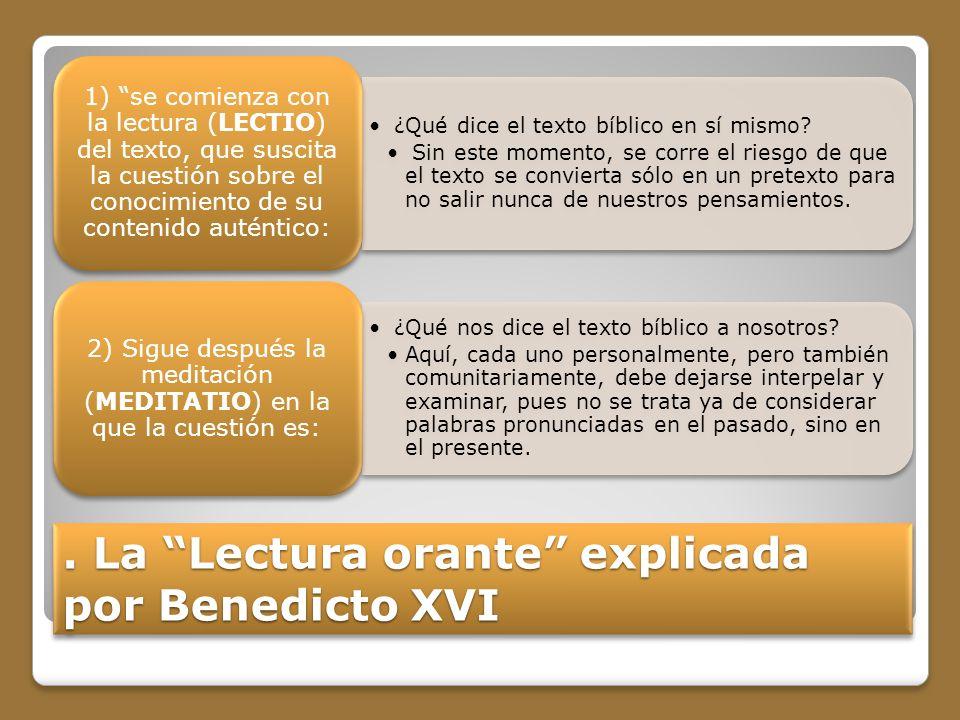 . La Lectura orante explicada por Benedicto XVI