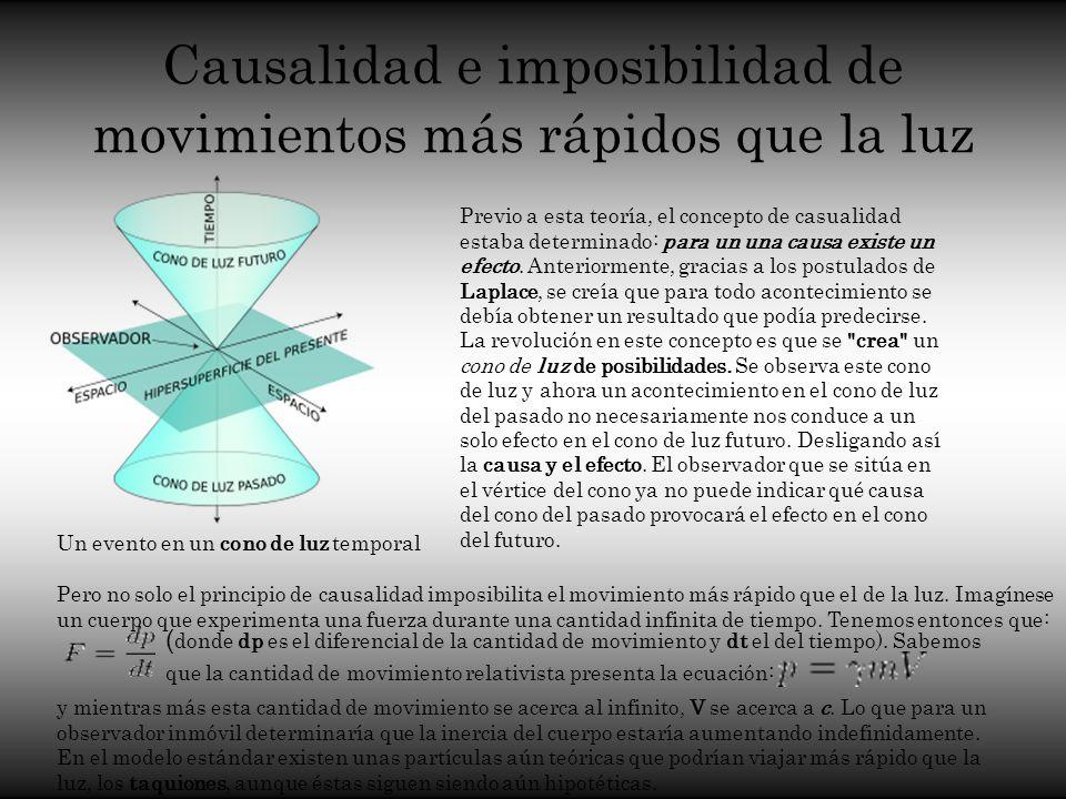 Causalidad e imposibilidad de movimientos más rápidos que la luz