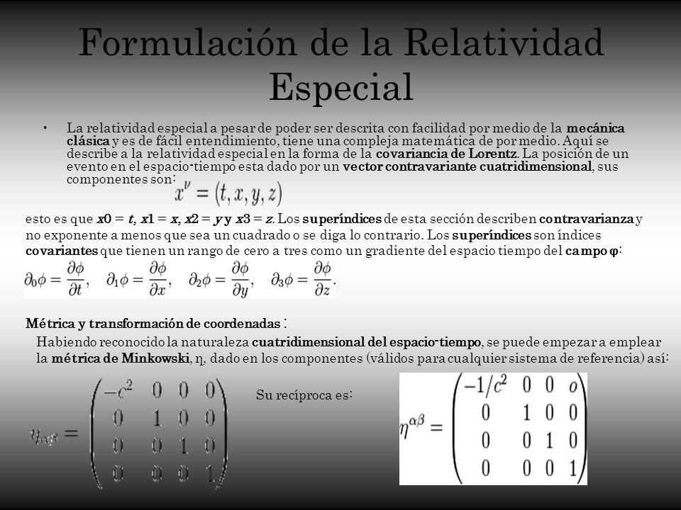 Formulación de la Relatividad Especial