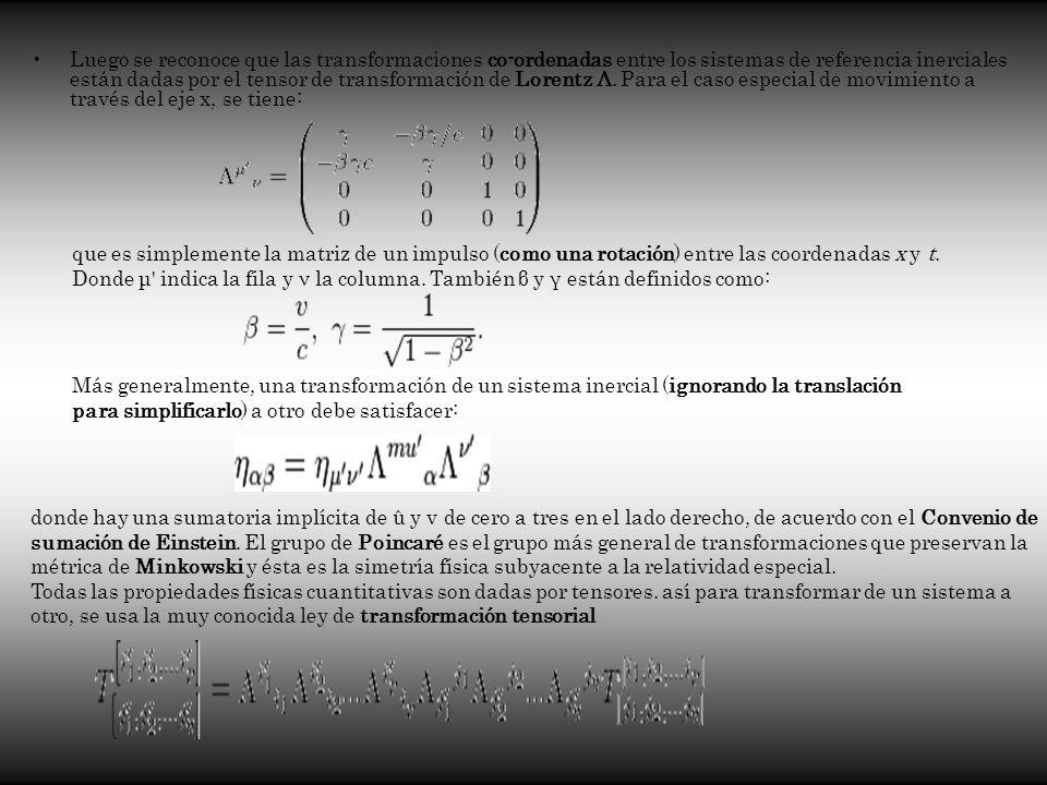 Luego se reconoce que las transformaciones co-ordenadas entre los sistemas de referencia inerciales están dadas por el tensor de transformación de Lorentz Λ. Para el caso especial de movimiento a través del eje x, se tiene: