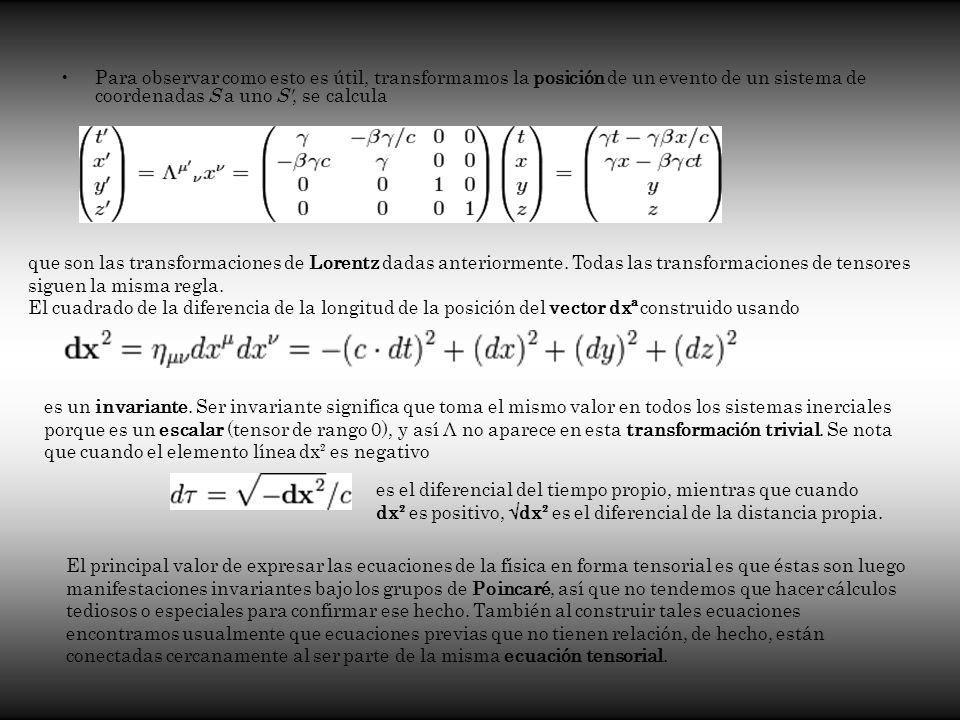 Para observar como esto es útil, transformamos la posición de un evento de un sistema de coordenadas S a uno S , se calcula