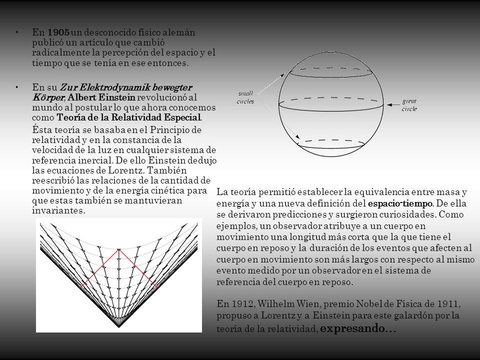 En 1905 un desconocido físico alemán publicó un artículo que cambió radicalmente la percepción del espacio y el tiempo que se tenía en ese entonces.