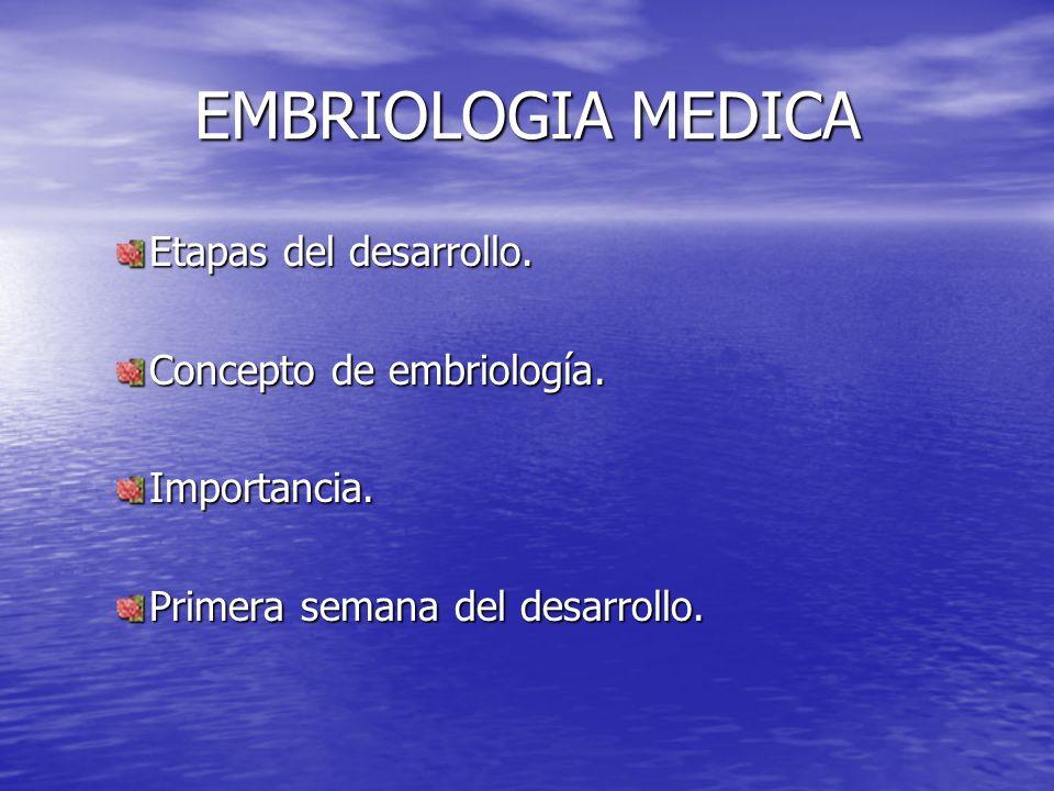 EMBRIOLOGIA MEDICA Etapas del desarrollo. Concepto de embriología.