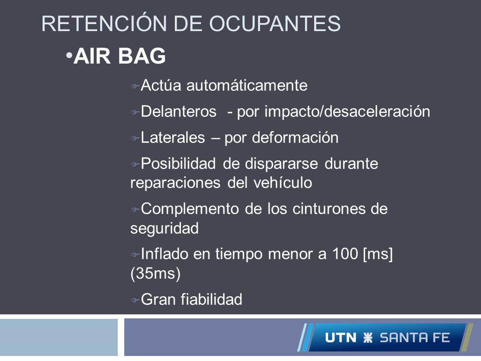 AIR BAG RETENCIÓN DE OCUPANTES Actúa automáticamente