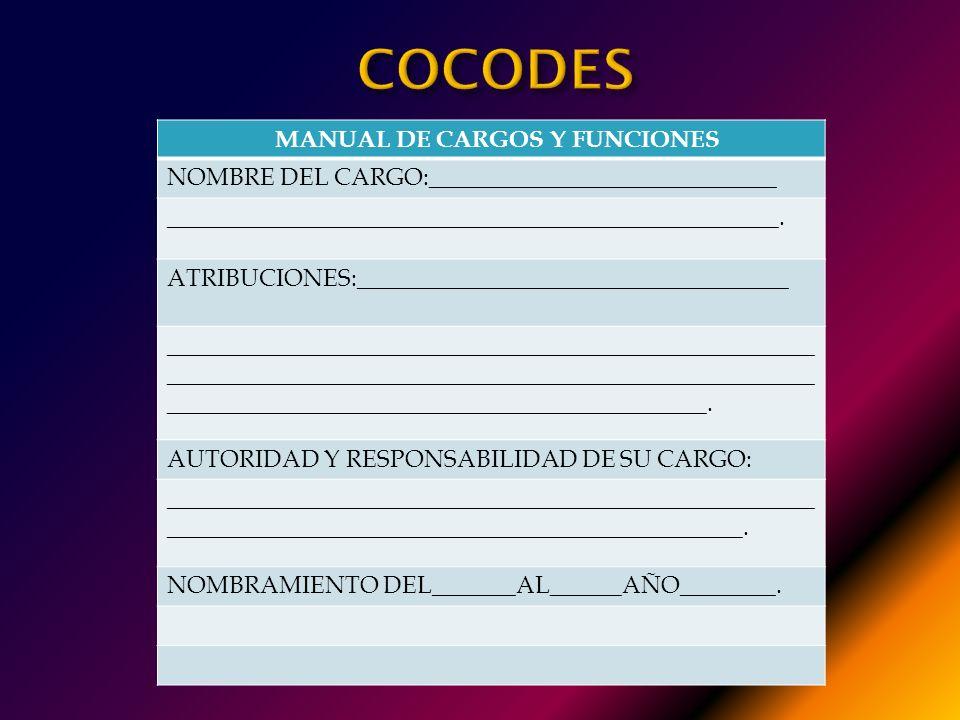MANUAL DE CARGOS Y FUNCIONES: