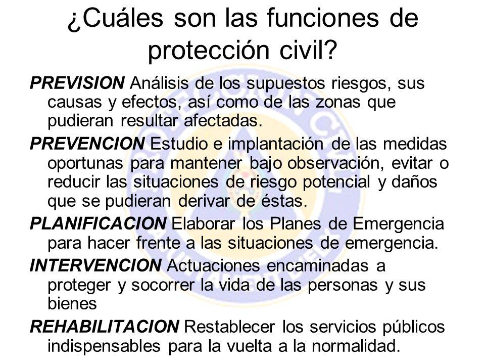 ¿Cuáles son las funciones de protección civil