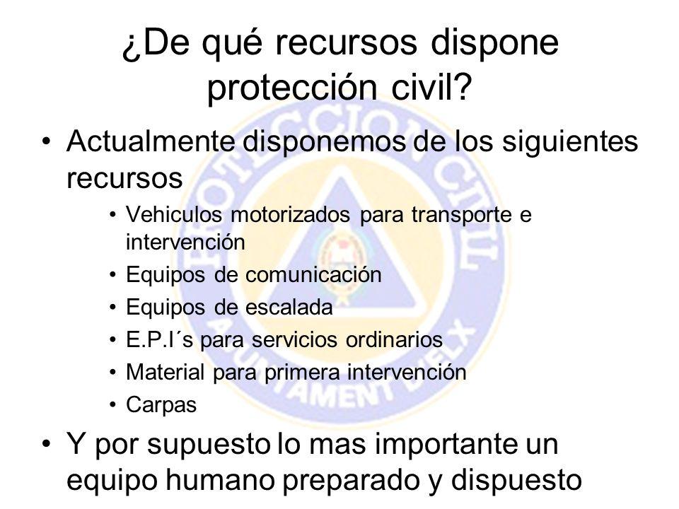 ¿De qué recursos dispone protección civil