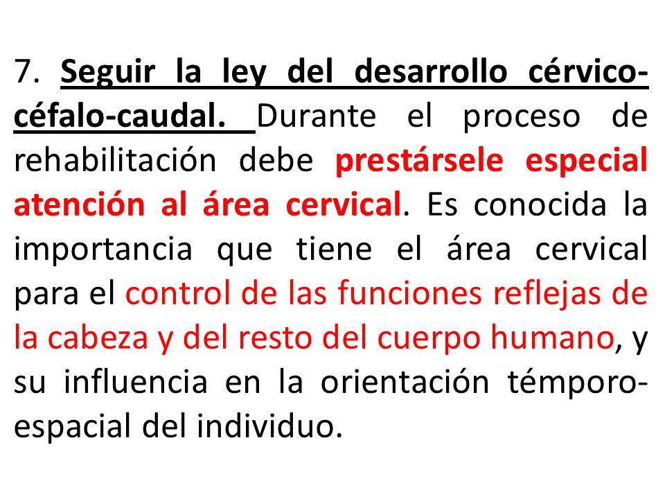 7. Seguir la ley del desarrollo cérvico-céfalo-caudal