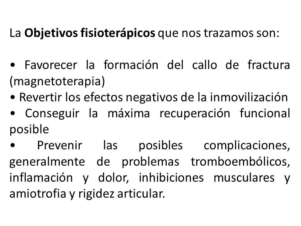 La Objetivos fisioterápicos que nos trazamos son: