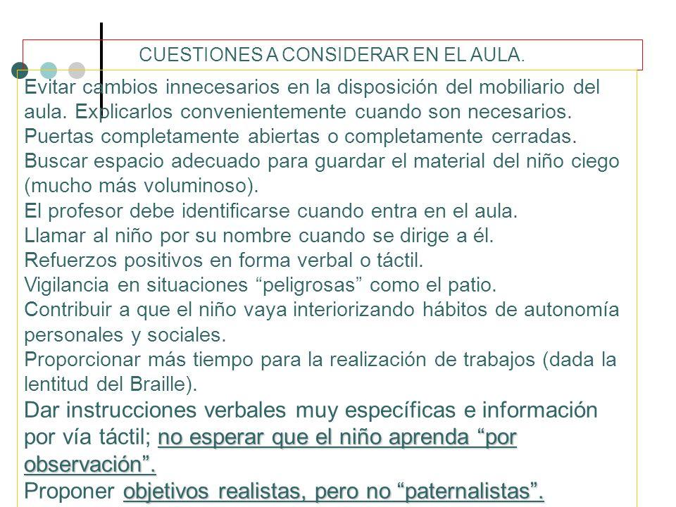 CUESTIONES A CONSIDERAR EN EL AULA.