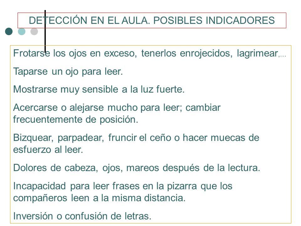 DETECCIÓN EN EL AULA. POSIBLES INDICADORES