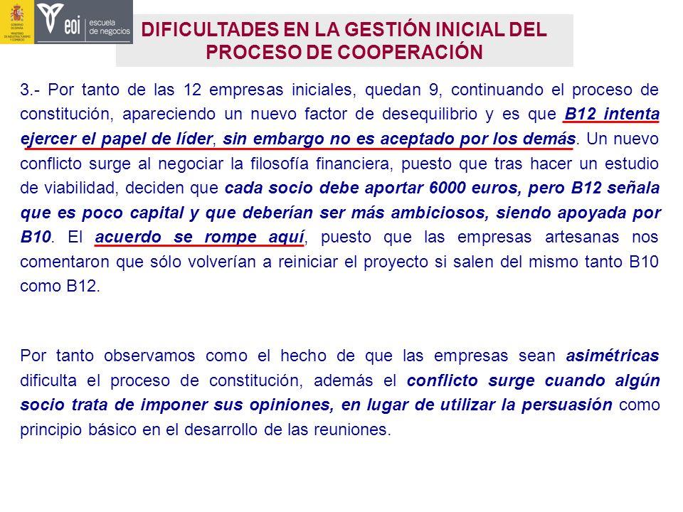DIFICULTADES EN LA GESTIÓN INICIAL DEL PROCESO DE COOPERACIÓN