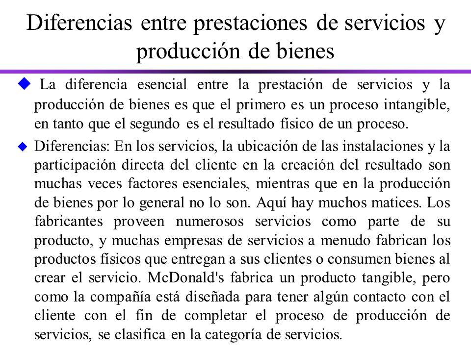 Diferencias entre prestaciones de servicios y producción de bienes