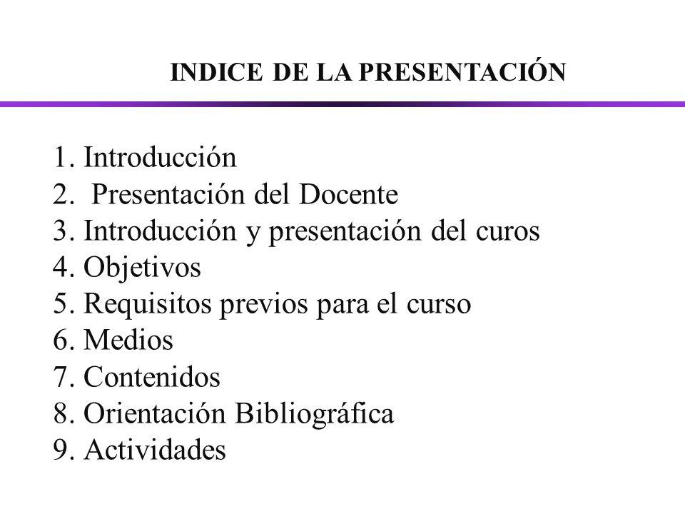 INDICE DE LA PRESENTACIÓN