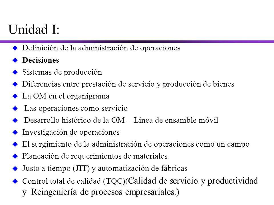Unidad I: Definición de la administración de operaciones Decisiones