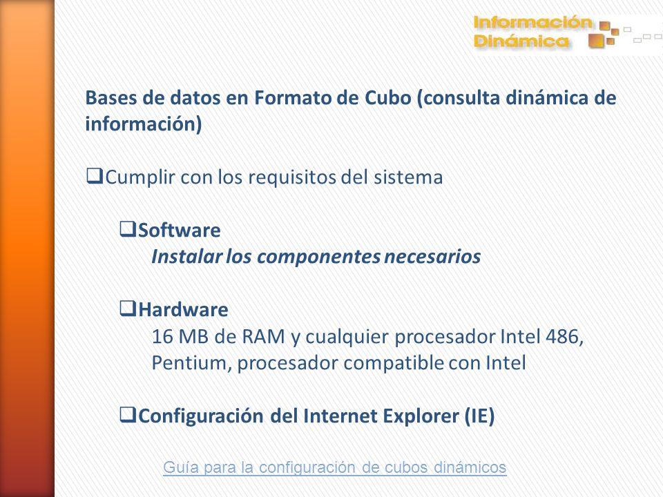 Bases de datos en Formato de Cubo (consulta dinámica de información)