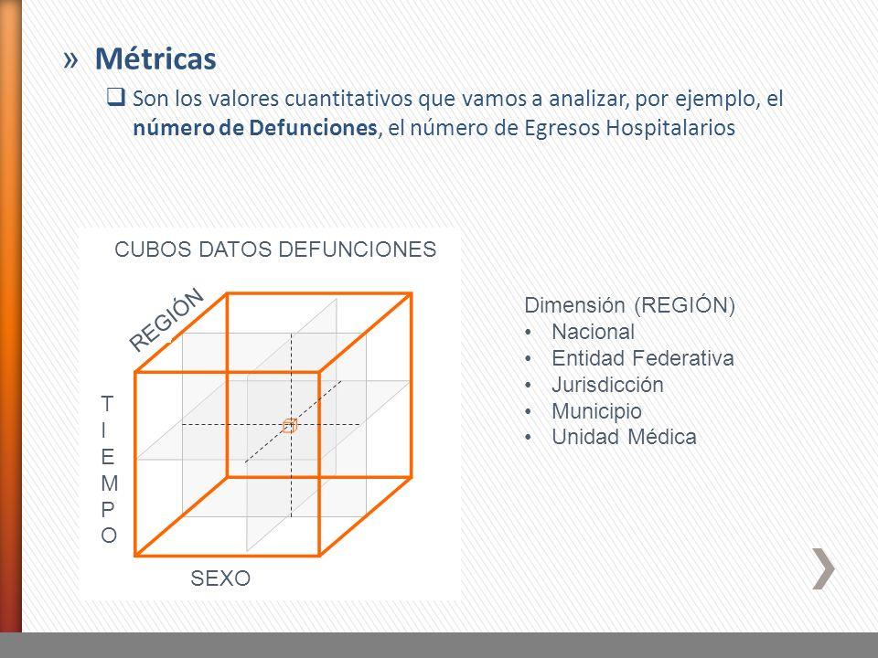 Métricas Son los valores cuantitativos que vamos a analizar, por ejemplo, el número de Defunciones, el número de Egresos Hospitalarios.