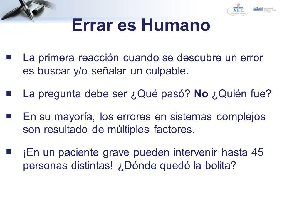 Errar es Humano La primera reacción cuando se descubre un error es buscar y/o señalar un culpable.