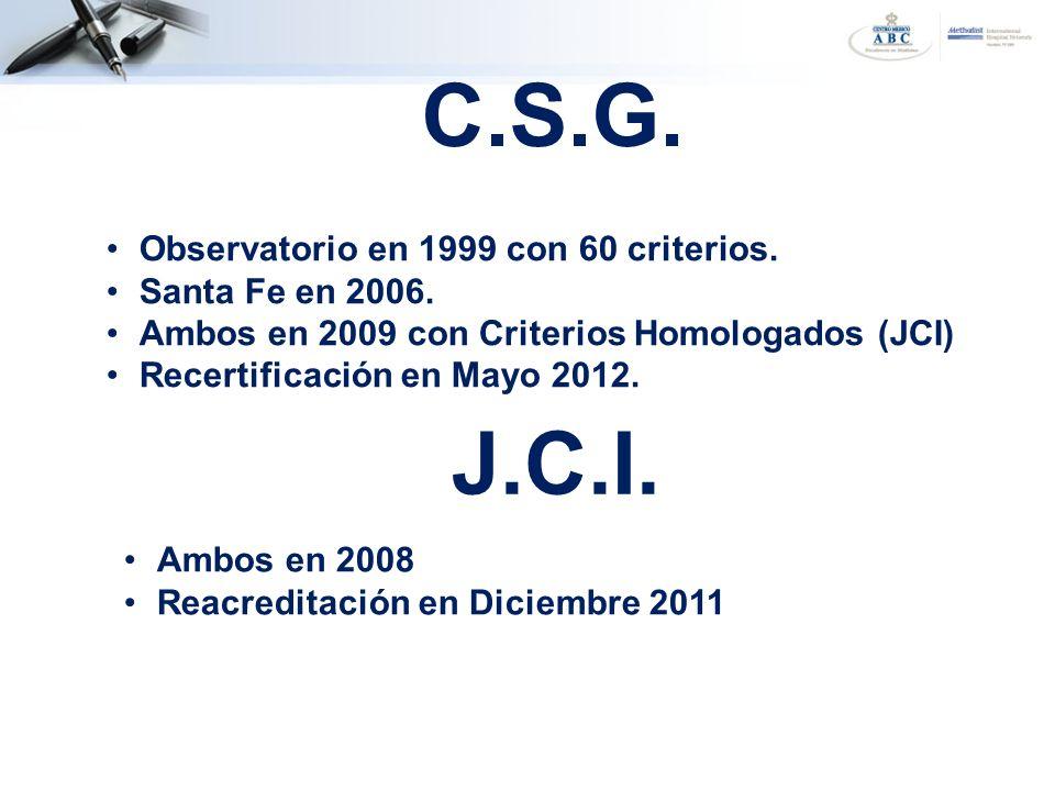 C.S.G. J.C.I. Observatorio en 1999 con 60 criterios. Santa Fe en 2006.