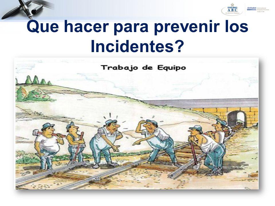 Que hacer para prevenir los Incidentes