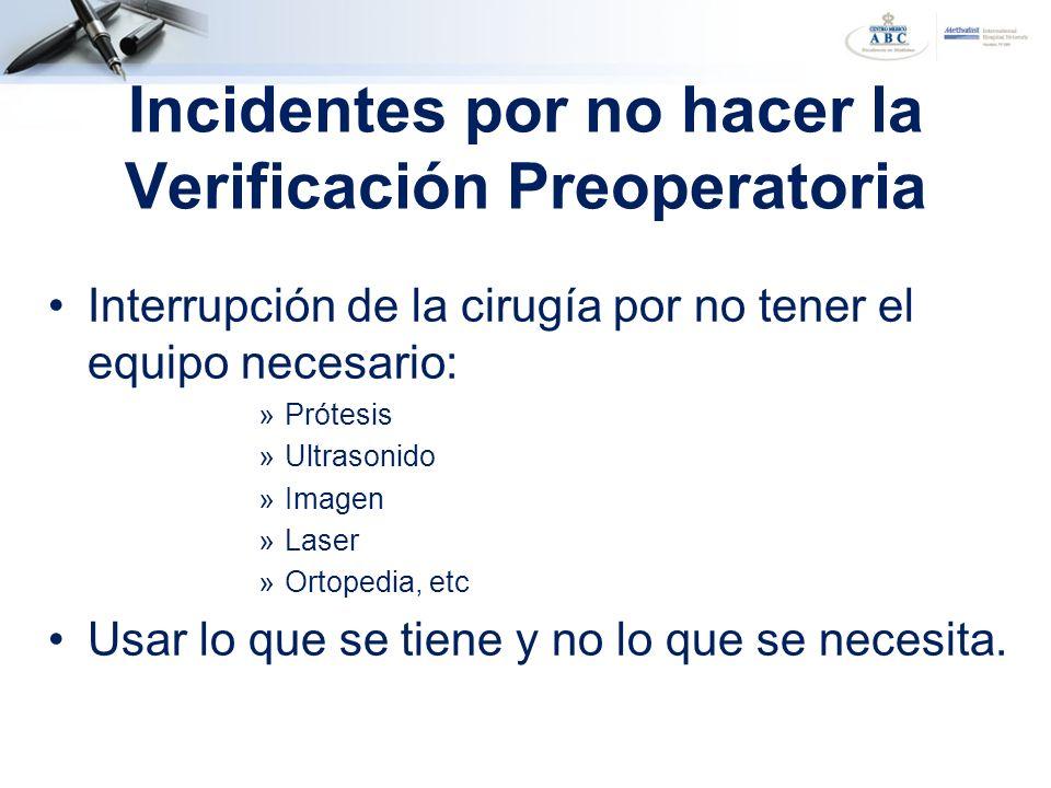 Incidentes por no hacer la Verificación Preoperatoria