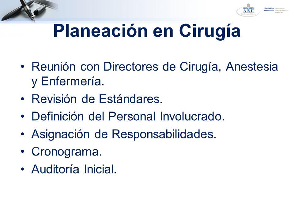 Planeación en Cirugía Reunión con Directores de Cirugía, Anestesia y Enfermería. Revisión de Estándares.