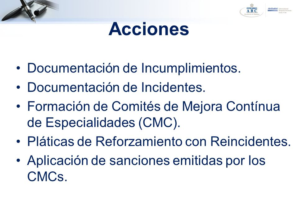 Acciones Documentación de Incumplimientos.