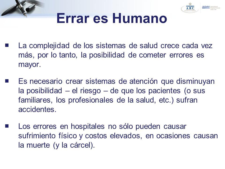 Errar es Humano La complejidad de los sistemas de salud crece cada vez más, por lo tanto, la posibilidad de cometer errores es mayor.