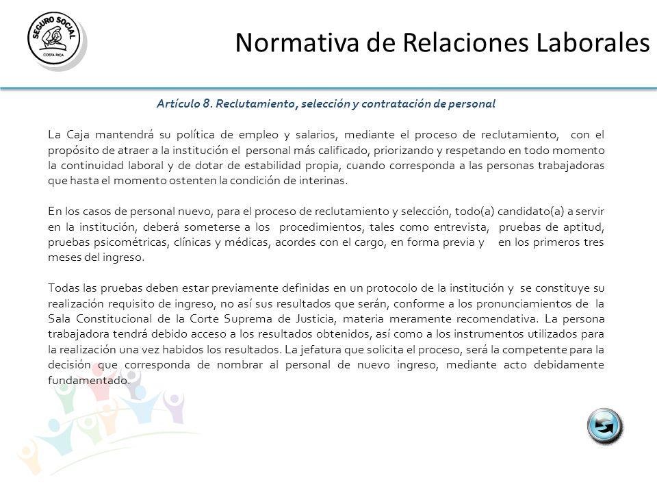 Artículo 8. Reclutamiento, selección y contratación de personal