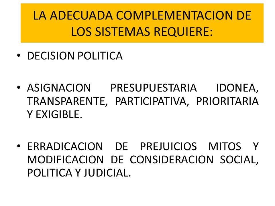 LA ADECUADA COMPLEMENTACION DE LOS SISTEMAS REQUIERE: