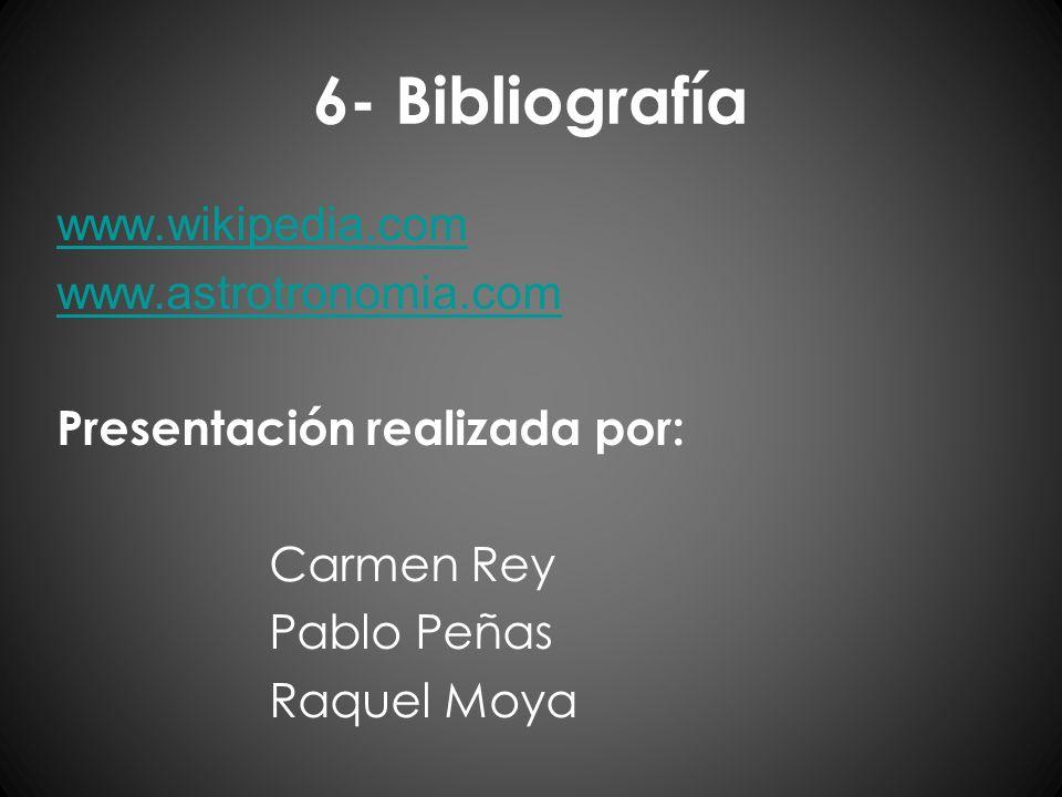 6- Bibliografíawww.wikipedia.com www.astrotronomia.com Presentación realizada por: Carmen Rey Pablo Peñas Raquel Moya