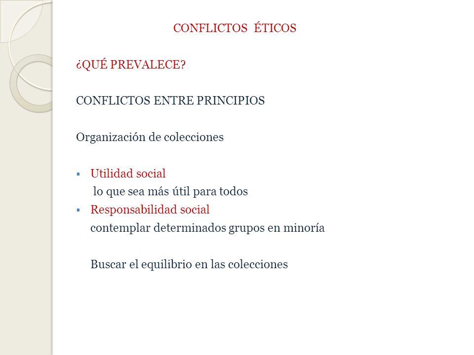 CONFLICTOS ÉTICOS ¿QUÉ PREVALECE CONFLICTOS ENTRE PRINCIPIOS. Organización de colecciones. Utilidad social.