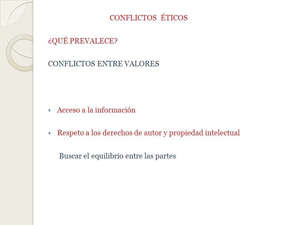 CONFLICTOS ÉTICOS ¿QUÉ PREVALECE CONFLICTOS ENTRE VALORES. Acceso a la información. Respeto a los derechos de autor y propiedad intelectual.