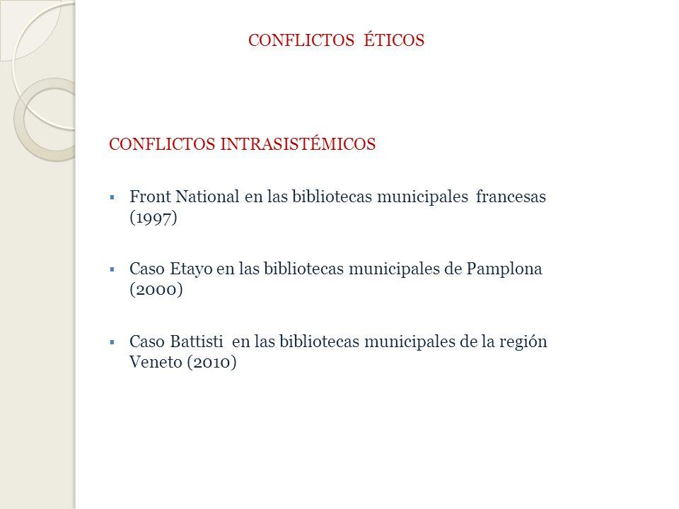 CONFLICTOS ÉTICOS CONFLICTOS INTRASISTÉMICOS. Front National en las bibliotecas municipales francesas (1997)