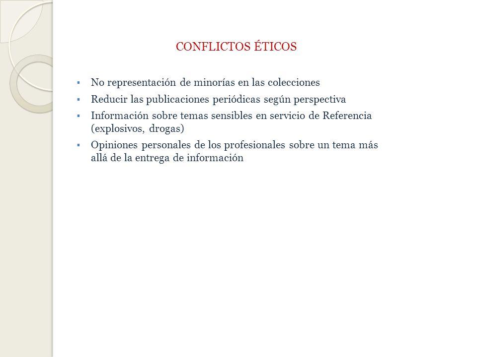 CONFLICTOS ÉTICOS No representación de minorías en las colecciones