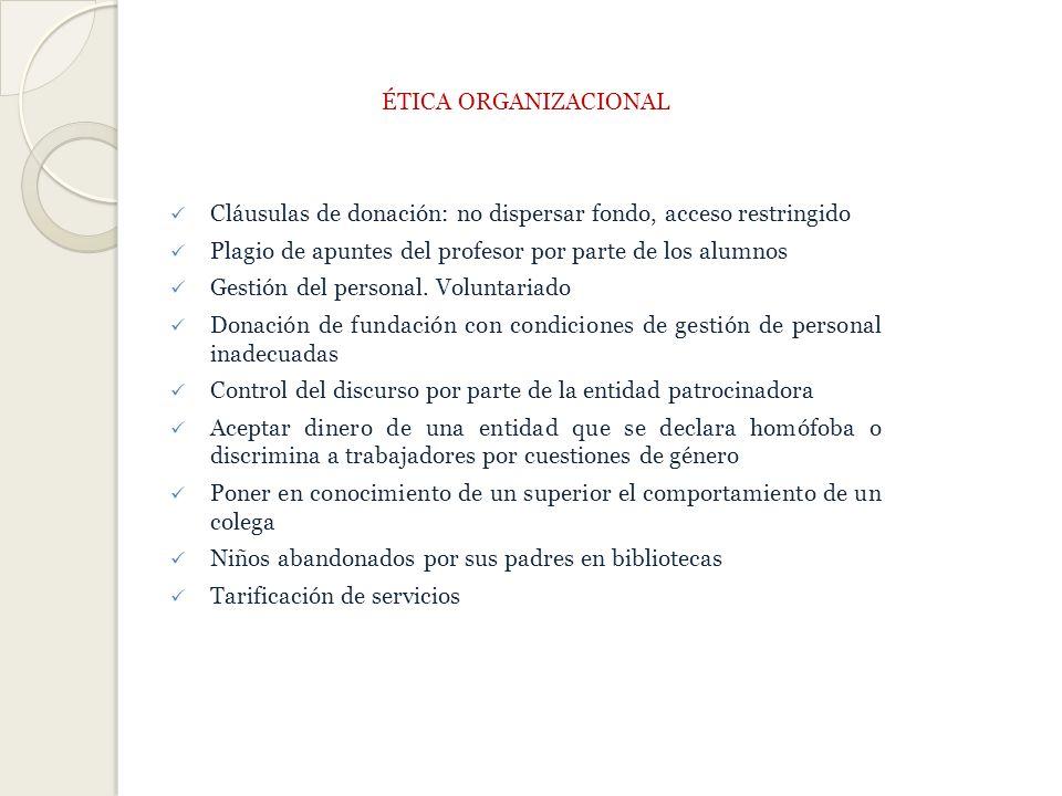 ÉTICA ORGANIZACIONAL Cláusulas de donación: no dispersar fondo, acceso restringido. Plagio de apuntes del profesor por parte de los alumnos.