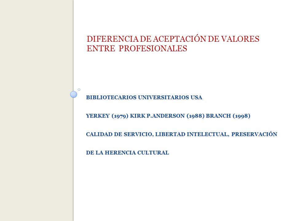DIFERENCIA DE ACEPTACIÓN DE VALORES ENTRE PROFESIONALES