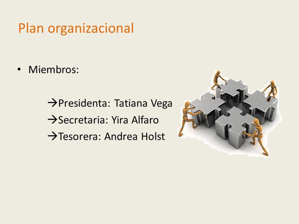 Plan organizacional Miembros: Presidenta: Tatiana Vega