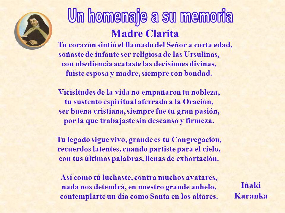 Un homenaje a su memoria Madre Clarita
