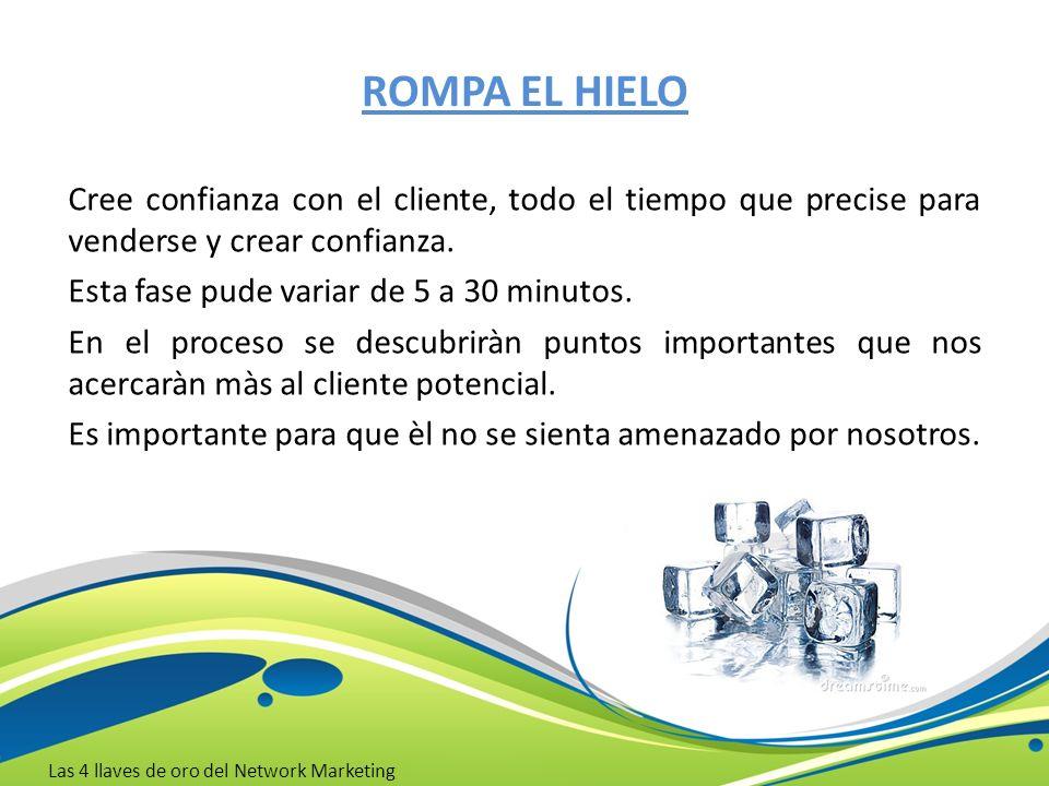 ROMPA EL HIELO Cree confianza con el cliente, todo el tiempo que precise para venderse y crear confianza.